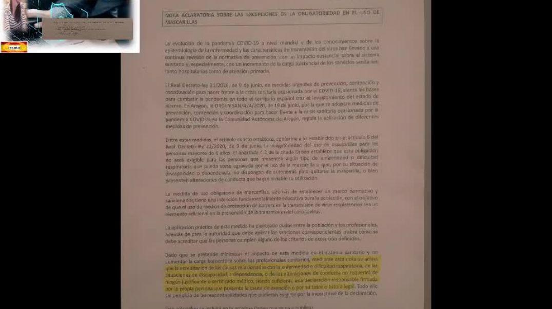 El gobierno de Aragón departamento de Salud en cuestión uso obligatorio de mascarillas.