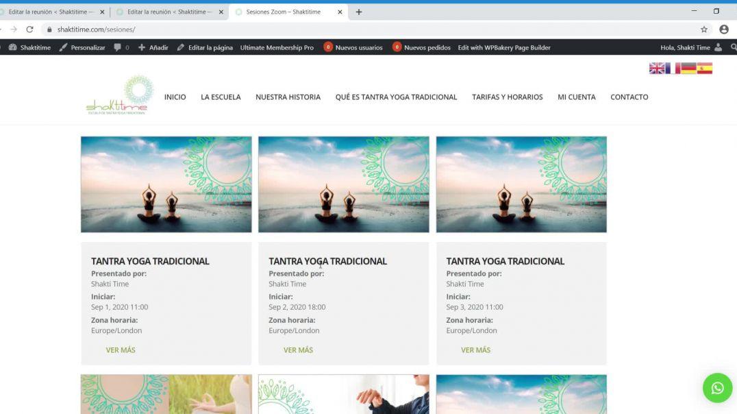 Shakti Time Tutorial Web - Cómo crear y/o editar reunión zoom