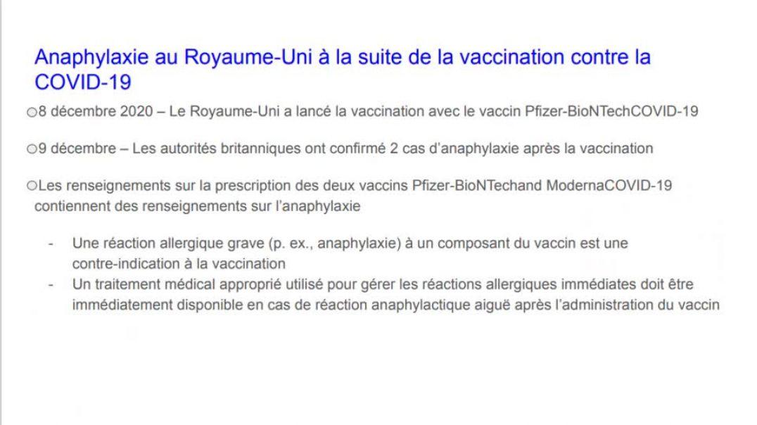 Traduction du document de la CDC sur les effets secondaires au Royaume-Uni suite à la vaccination