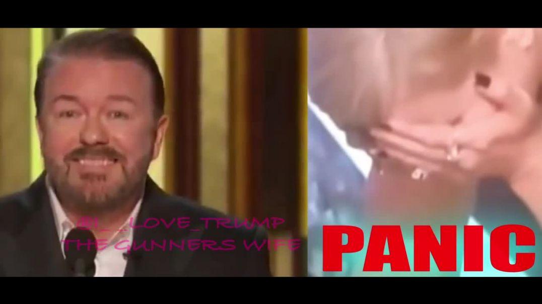 ⛔ ¡Pánico! Ricky Gervais ESCRIBE MSG EN EL AIRE EN Hollywood Globos de Oro durante su hilarante monó