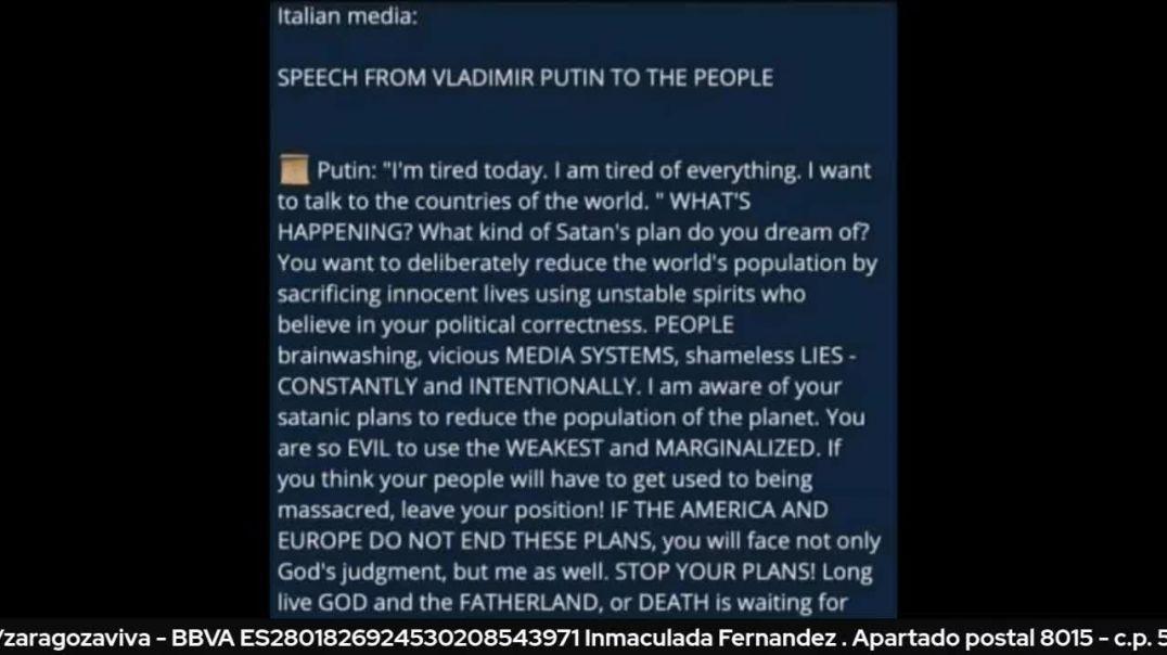 Putin declara públicamente en su pais que va directo contra el Cabal.