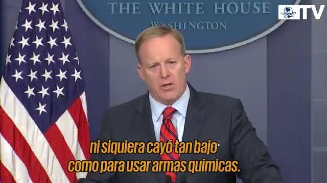Hitler no cayó tan bajo como para utilizar armas químicas - Sean Spicer.