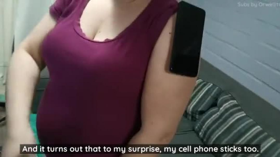MagnetGate: Two cell phones get sticked to her arm
